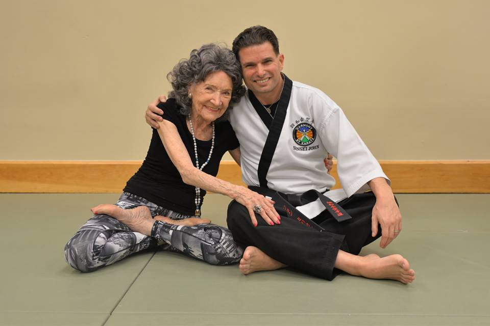 96-year-old Tao Porchon-Lynch with Sensei John P. Mirrione of Harmony By Karate