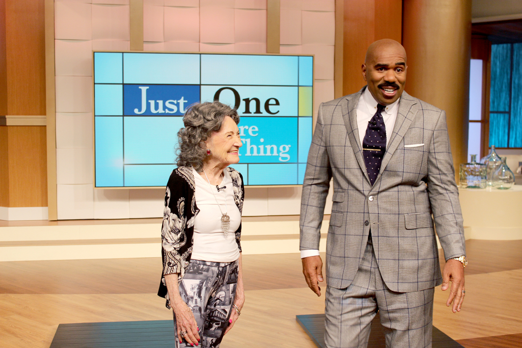96-year-old yoga master Tao Porchon-Lynch on the Steve Harvey Show