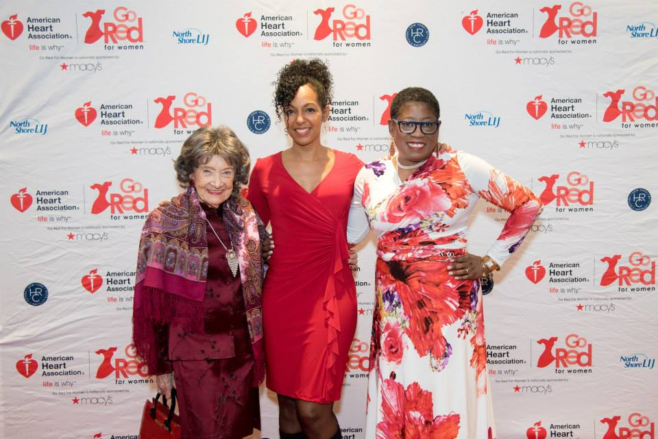 96-year-old Yoga Master Tao Porchon-Lynch, Teresa Kay-Aba Kennedy, Dionne Polite at the 2015 American Heart Association Go Red Luncheon at the NY Hilton Midtown