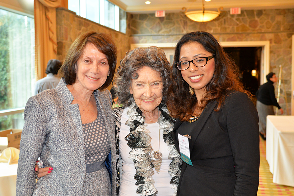 Carolyn Glickstein, Tao Porchon-Lynch with scholarship awardee Anveeta Jagasia at the 31st Annual Women's Hall of Fame in Tarrytown, NY - 03/27/15