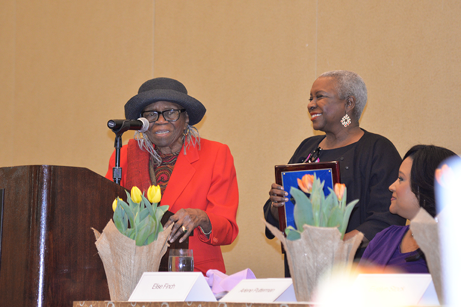95-year-old Nancy Fitch making remarks after receiving her Special Tribute at the 31st Annual Women's Hall of Fame Luncheon in Tarrytown, NY - 03/27/15