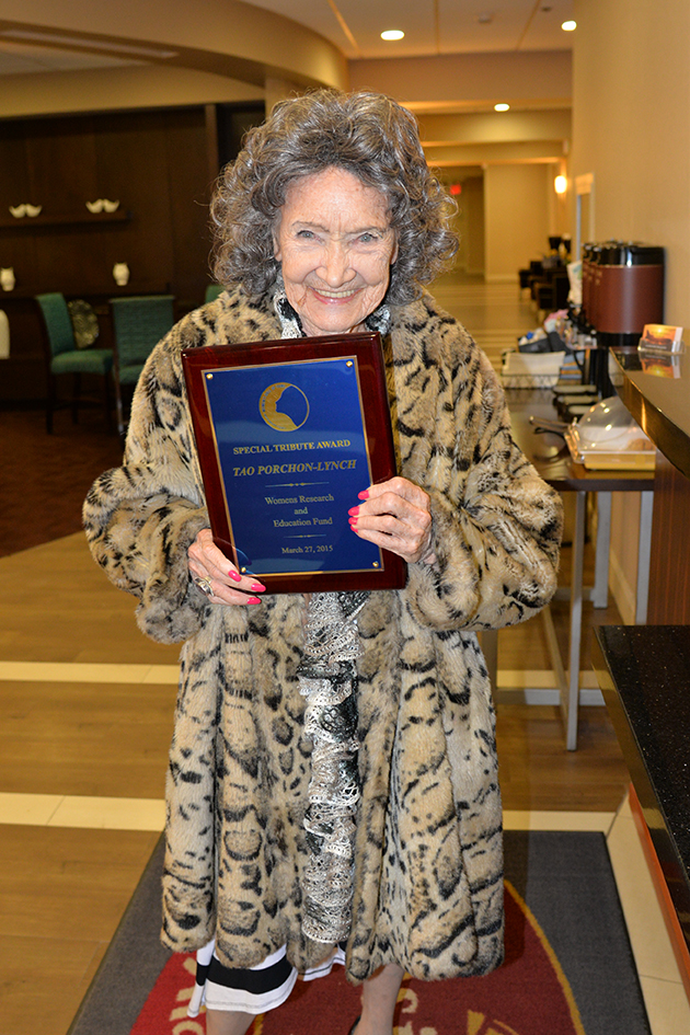 96-year-old Yoga Master Tao Porchon-Lynch with her Special Tribute from the Women's Research and Education Fund - 03/27/15