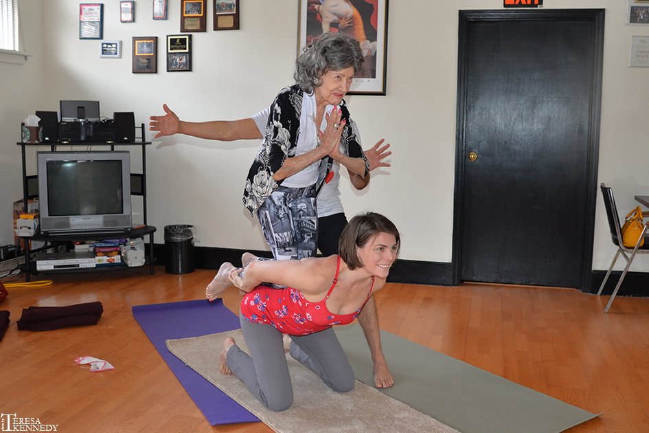 96-year-old Yoga Master Tao Porchon-Lynch in AcroYoga Session