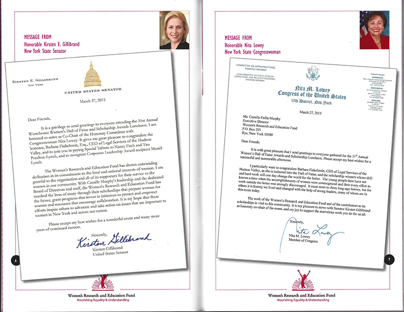 Acknowledgment Letters for 31st Annual Women's Hall of Fame Awards
