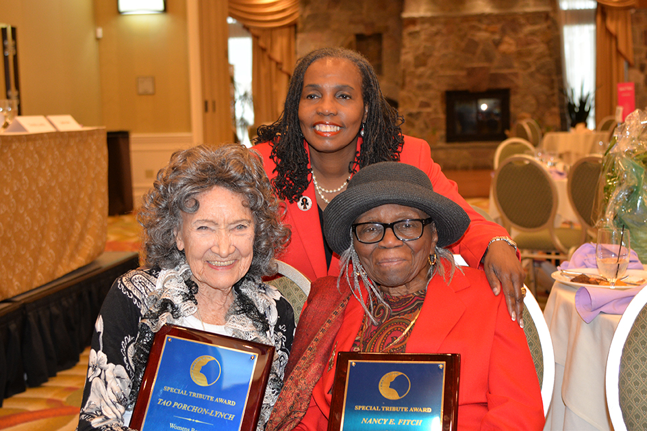 96-year-old Tao Porchon-Lynch, 95-year-old Nancy Finch and Cheryl Lynn Brannan at the 31st Annual Women's Hall of Fame Luncheon in Tarrytown, NY - 03/27/15
