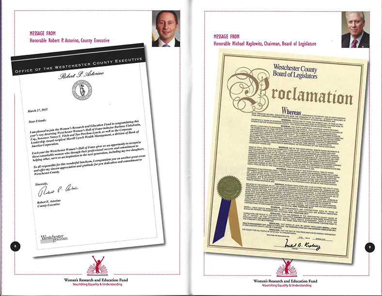 Acknowledgment Letter and Proclamation for 31st Annual Women's Hall of Fame Awards