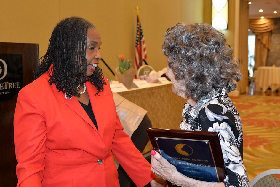 Cheryl Lynn Brannon and 96-year-old Tao Porchon-Lynch at the 31st Annual Women's Hall of Fame Luncheon in Tarrytown, NY - 03/27/15