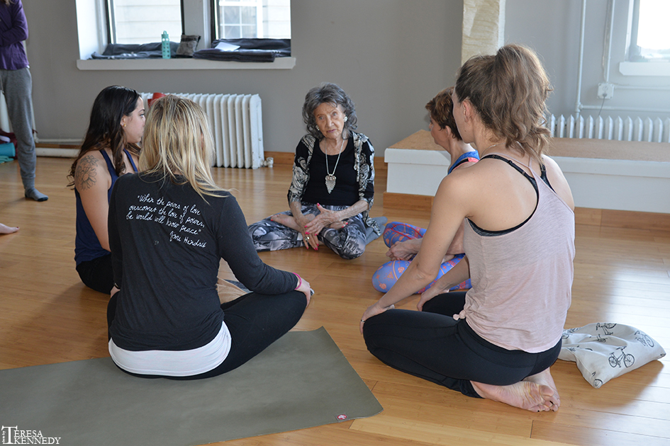 96-year-old Yoga Master Tao Porchon-Lynch teaching at YogaWorks in Irvington, NY