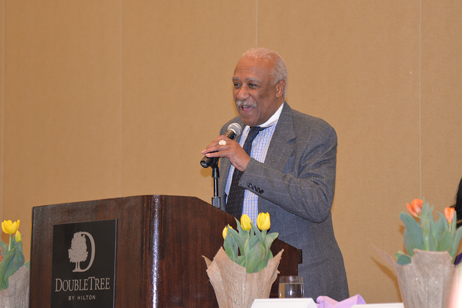 Mount Vernon Mayor Ernest D. Davis acknowledging the honorees at the 31st Annual Women's Hall of Fame Luncheon in Tarrytown, NY - 03/27/15