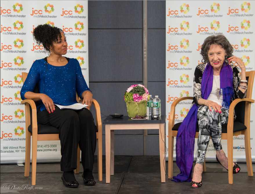 96-year-old Yoga Master Tao Porchon-Lynch and Teresa Kay-Aba Kennedy at JCC Mid-Westchester Event on April 27, 2015