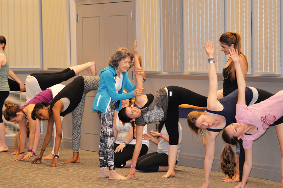 96-year-old Yoga Master Tao Porchon-Lynch teaching at the University of Delaware on May 3, 2015