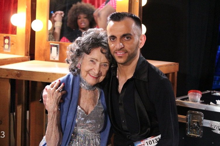 96-year-old Tao Porchon-Lynch and 26-year-old Vard Margaryan on America's Got Talent, June 9, 2015