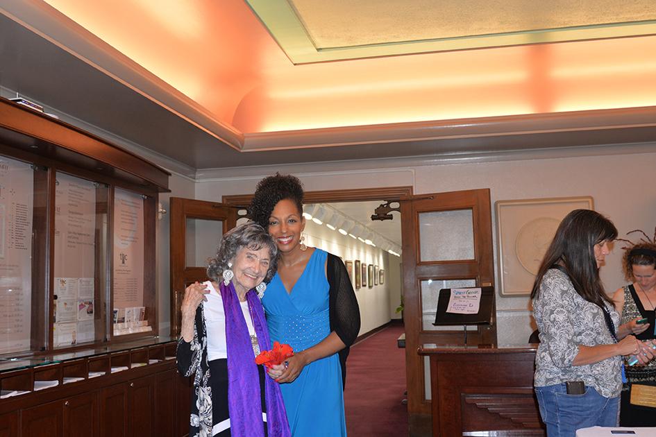 97-year-old yoga master Tao Porchon-Lynch and Teresa Kay-Aba Kennedy in Kansas City
