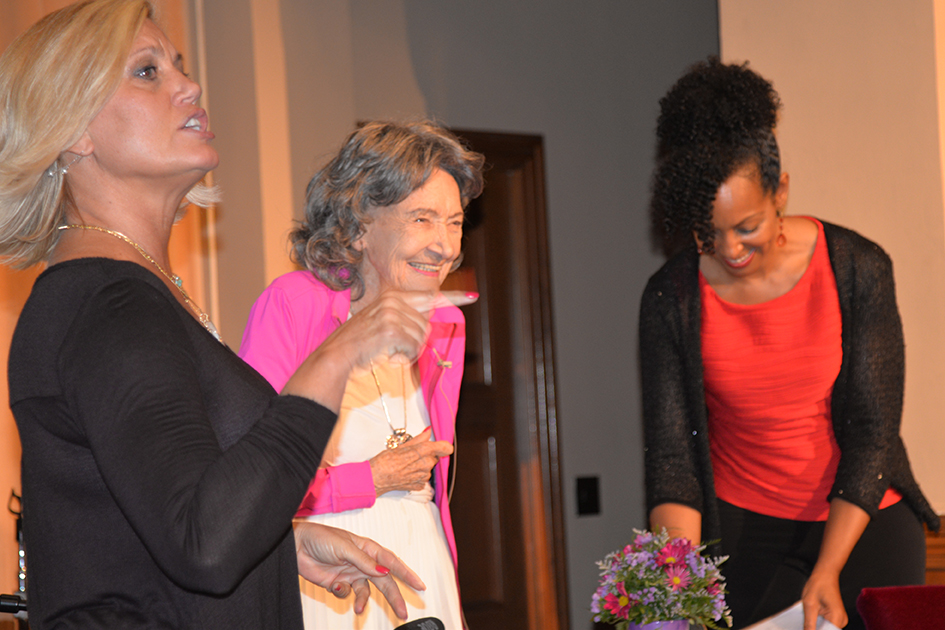 Gretchen Robinson, 97-year-old yoga master Tao Porchon-Lynch and Teresa Kay-Aba Kennedy at The Gandhi Effect workshop in Kansas City