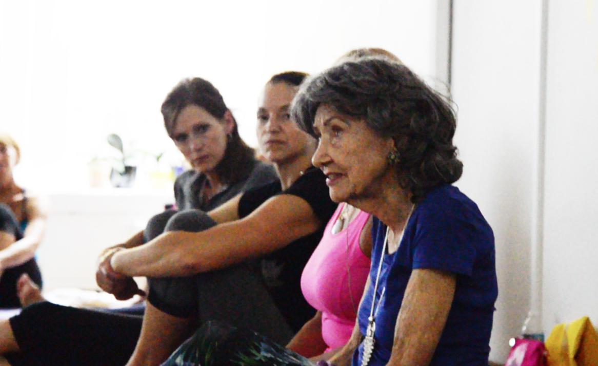 97-year-old yoga master Tao Porchon-Lynch teaching at Mark Blanchard Studio in Kansas City