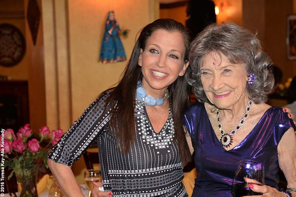 Wendy Diamond with Yoga Master Tao Porchon-Lynch at her 98th Birthday Party at the Taj Palace Restaurant in White Plains, NY - August 7, 2016