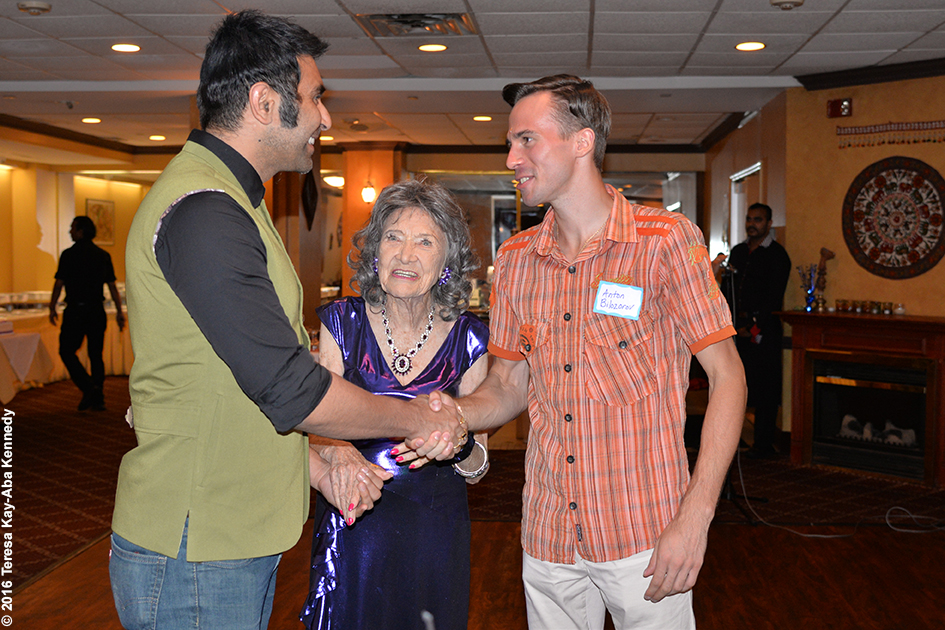 Anton Bilozorov and Sandip Soparrkar with Yoga Master Tao Porchon-Lynch at Tao's 98th Birthday Party at the Taj Palace in White Plains, NY - August 7, 2016