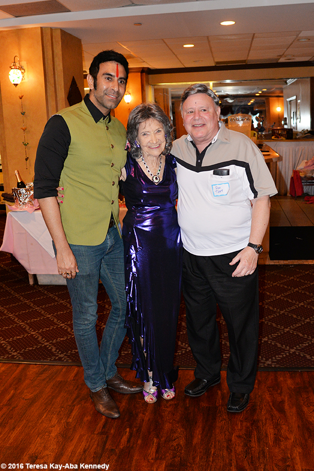 Sandip Soparrkar and Ron Tvert with Yoga Master Tao Porchon-Lynch at her 98th Birthday Party in White Plains, NY - August 7, 2016