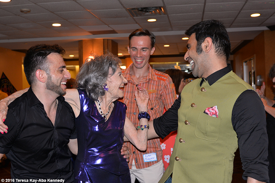 Vard Margaryan, Anton Bilozorov and Sandip Soparrkar with Yoga Master Tao Porchon-Lynch at Tao's 98th Birthday Party in White Plains, NY - August 7, 2016