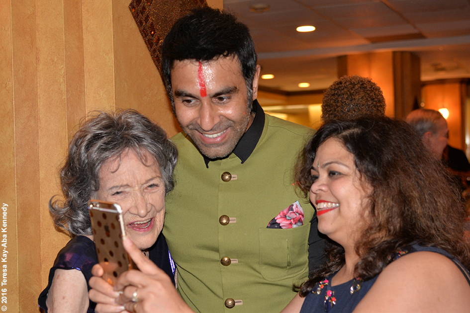 Sandip Soparrkar and Yoga Master Tao Porchon-Lynch at Tao's 98th Birthday Party in White Plains, NY - August 7, 2016
