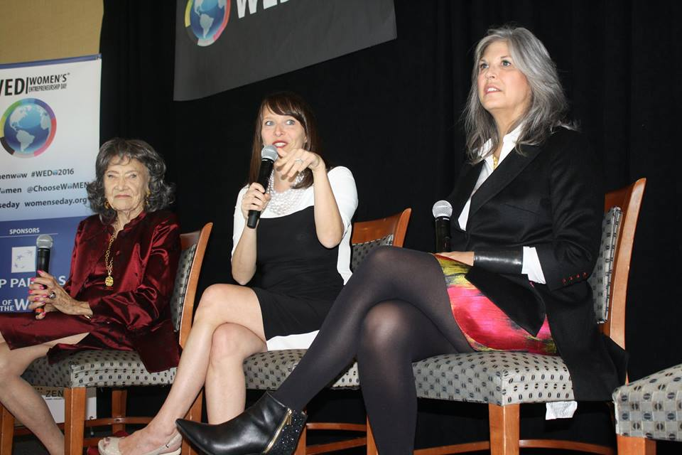 98-year-old yoga master Tao Porchon-Lynch, Rachel Gerrol and Joan Hornig at Women's Entrepreneurship Day at the United Nations in New York - November 18, 2016