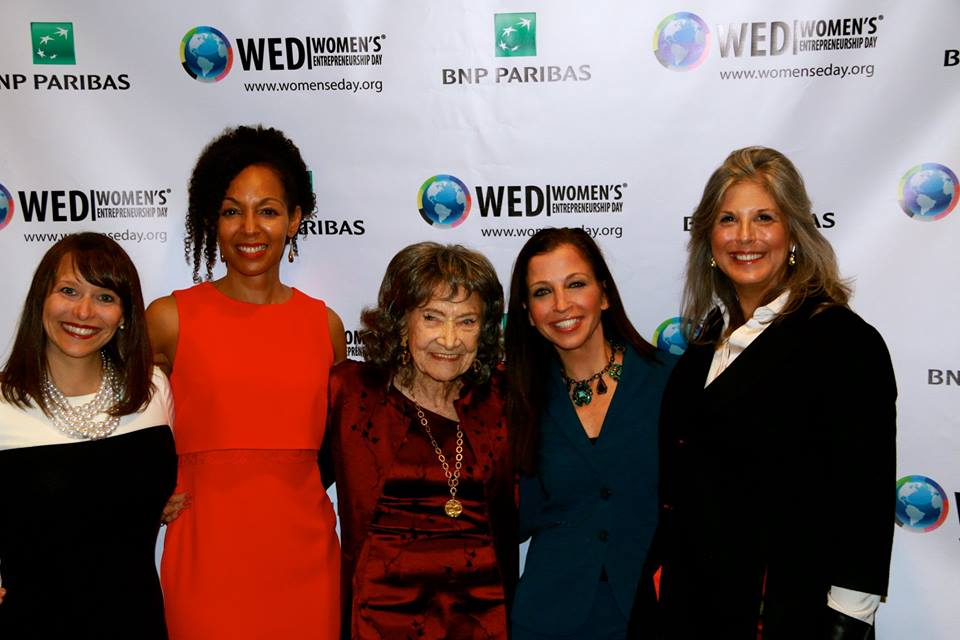 Teresa Kay-Aba Kennedy, 98-year-old yoga master Tao Porchon-Lynch, Wendy Diamond and Joan Hornig at Women's Entrepreneurship Day at United Nations in New York - November 18, 2016