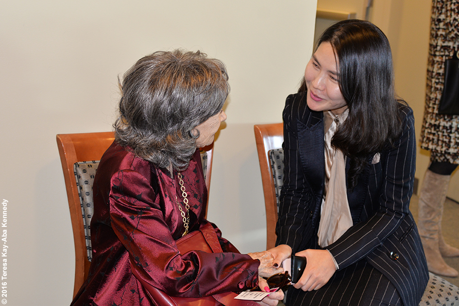 98-year-old yoga master Tao Porchon-Lynch at Women's Entrepreneurship Day at the United Nations in New York - November 18, 2016
