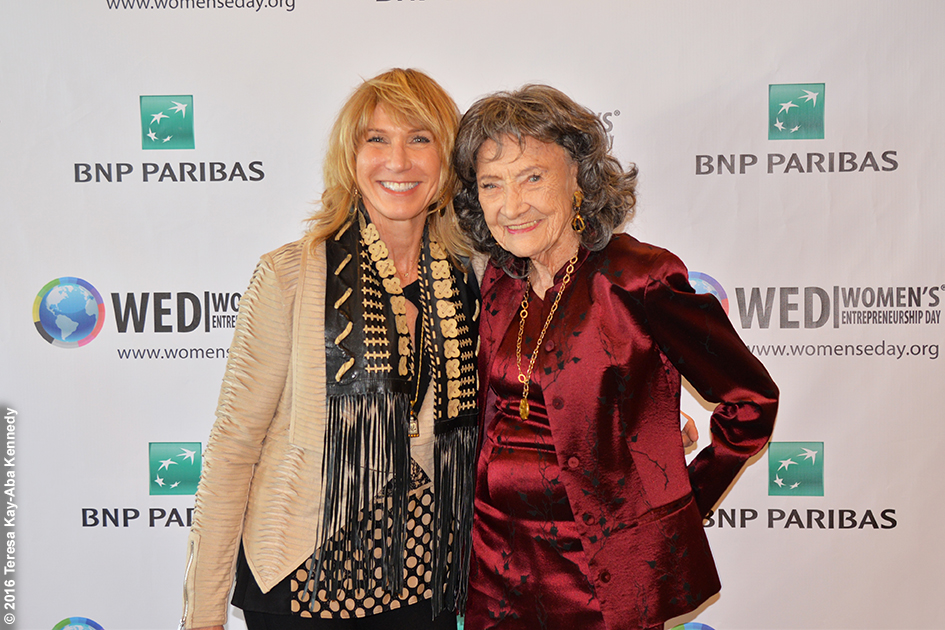 Renee Diamond and 98-year-old yoga master Tao Porchon-Lynch at Women's Entrepreneurship Day at the United Nations in New York - November 18, 2016