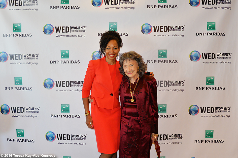 Teresa Kay-Aba Kennedy and 98-year-old yoga master Tao Porchon-Lynch at Women's Entrepreneurship Day at the United Nations in New York - November 18, 2016