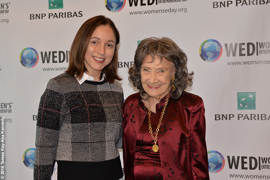 Dina Shoman and 98-year-old yoga master Tao Porchon-Lynch at Women's Entrepreneurship Day at United Nations in New York - November 18, 2016
