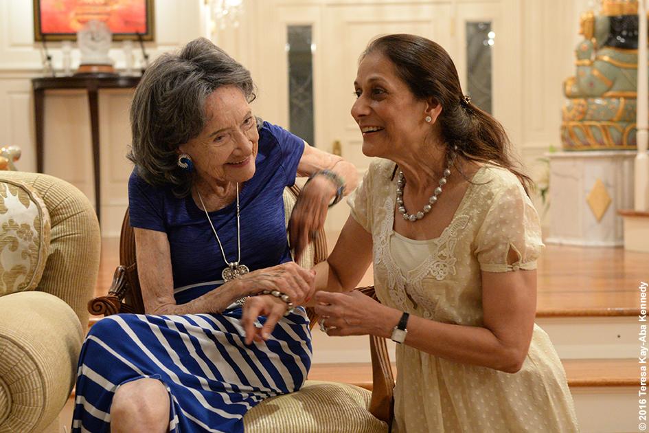 98-year-old yoga master Tao Porchon-Lynch and Baiju Mehta at Book Club on Dancing Light in NY - October 17, 2016
