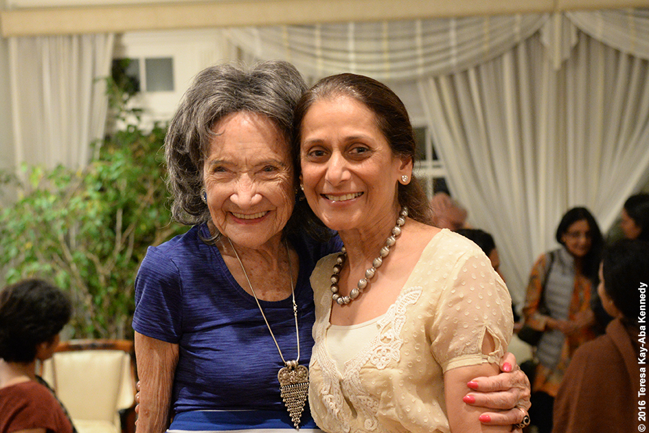 98-year-old yoga master Tao Porchon-Lynch and Baiju Mehta at Book Club on Dancing Light in NY - October 17, 2016