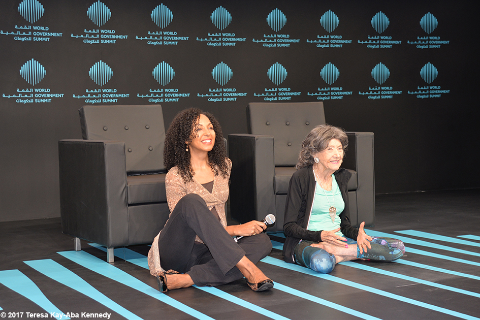Tao Porchon-Lynch and Teresa Kay-Aba Kennedy at World Government Summit in Dubai - February 2017