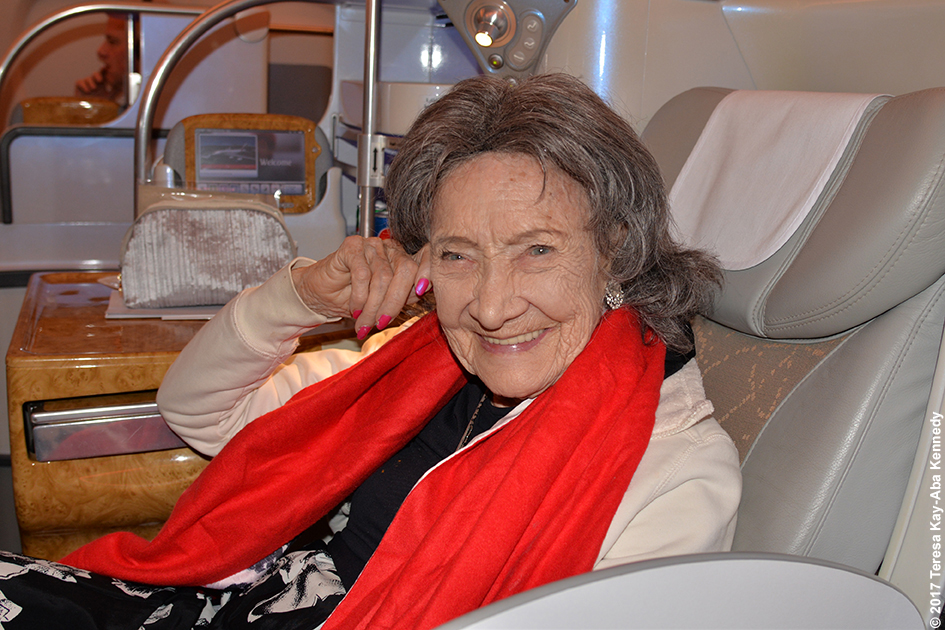98-year-old yoga master Tao Porchon-Lynch on Emirates arriving in Dubai - February 11, 2017