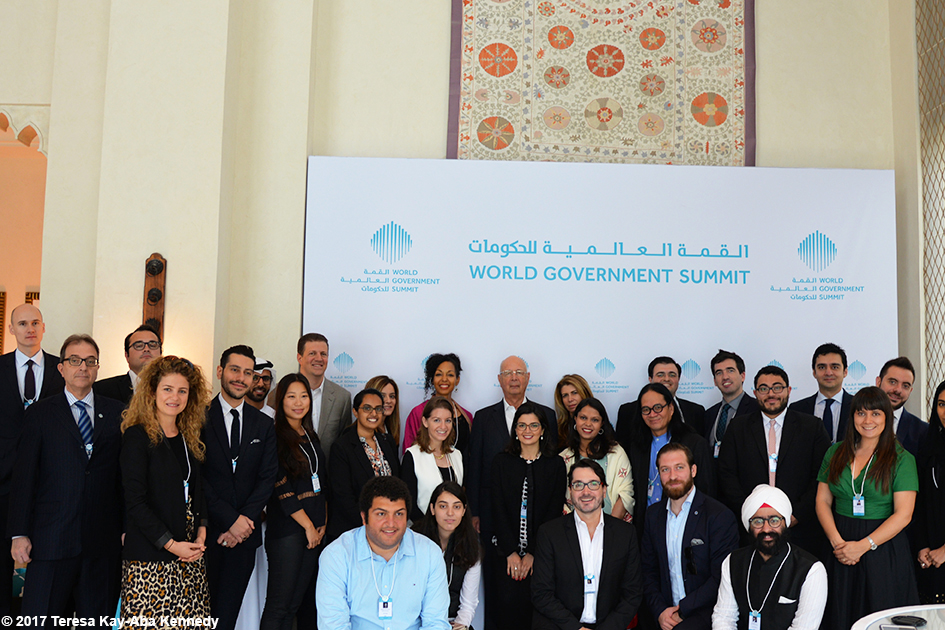 Teresa Kay-Aba Kennedy with fellow Young Global Leaders and Professor Klaus Schwab at Mina A' Salam in Dubai for World Government Summit - February 13, 2017