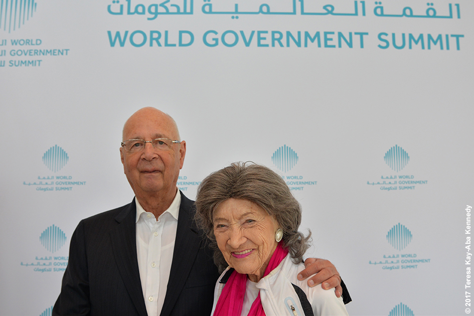 World Economic Forum Founder Klaus Schwab and 98-year-old yoga master Tao Porchon-Lynch at Mina A' Salam in Dubai for World Government Summit - February 13, 2017