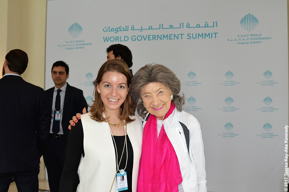 98-year-old yoga master Tao Porchon-Lynch with Young Global Leader at Mina A' Salam in Dubai for World Government Summit - February 13, 2017