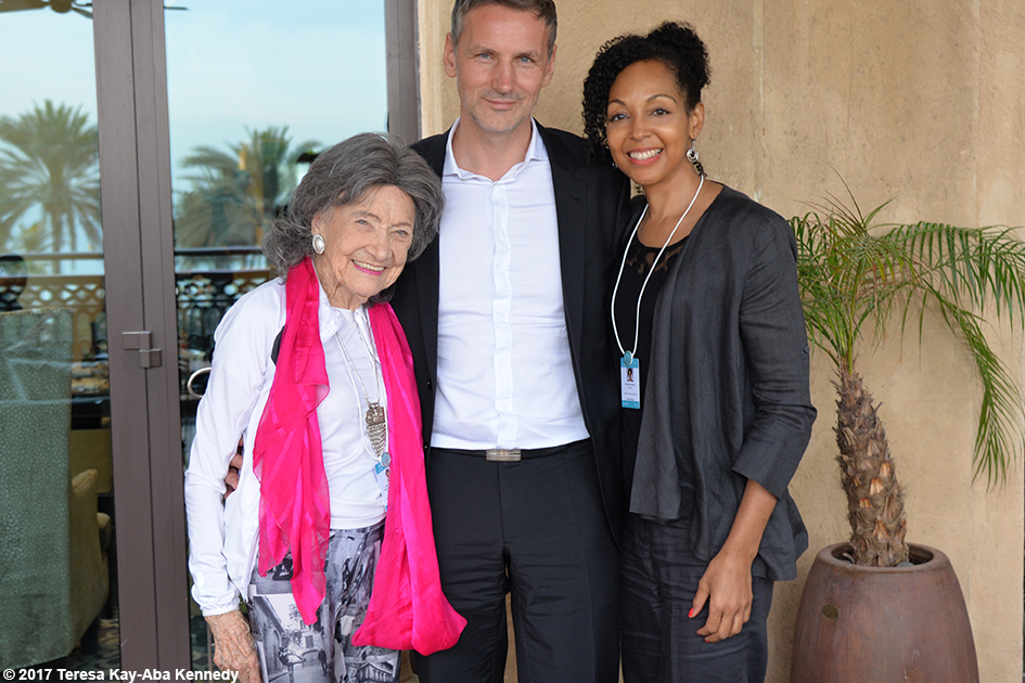 98-year-old yoga master Tao Porchon-Lynch, Matej Cer and Teresa Kay-Aba Kennedy at Mina A' Salam in Dubai for World Government Summit - February 13, 2017