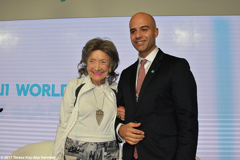 98-year-old yoga master Tao Porchon-Lynch and Deputy Director General Adolfo Ayuso-Audry at World Government Summit in Dubai - February 13, 2017