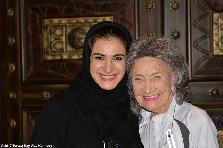 Hana AlHashimi and 98-year-old yoga master Tao Porchon-Lynch at World Government Summit in Dubai - February 13, 2017
