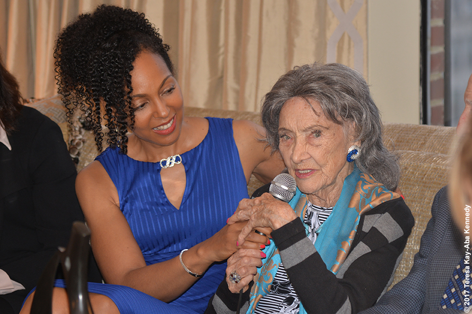 Teresa Kay-Aba Kennedy with 98-year-old yoga master Tao Porchon-Lynch at book party hosted at the home of Joan and George Hornig in New York - April 27, 2017