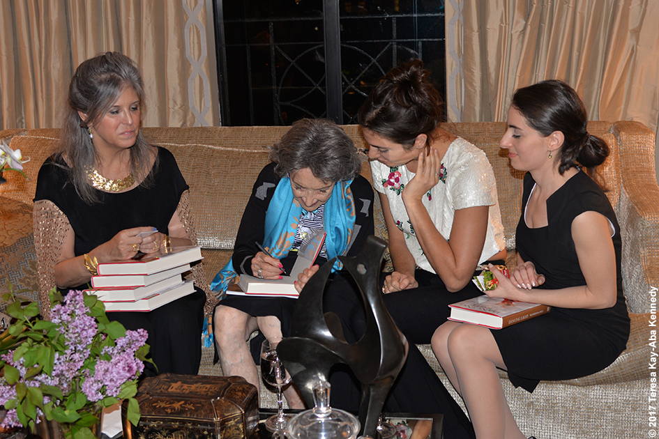 Joan Hornig and others with 98-year-old yoga master Tao Porchon-Lynch at book party at the home of Joan and George Hornig in New York - April 27, 2017