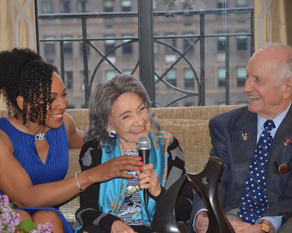 Teresa Kay-Aba Kennedy and 98-year-old yoga master Tao Porchon-Lynch at book party hosted by Joan and George Hornig at their home in New York - April 27, 2017