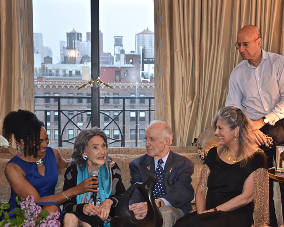 Teresa Kay-Aba Kennedy, 98-year-old yoga master Tao Porchon-Lynch, Joan Hornig and George Hornig at book party in their home in New York - April 27, 2017