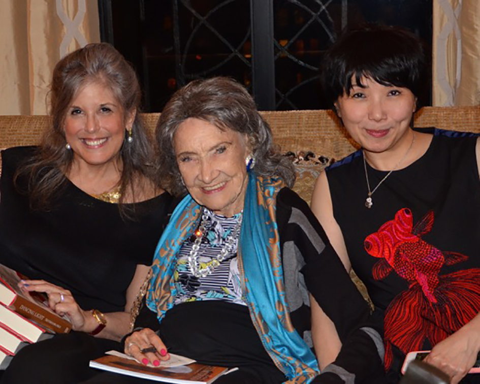 Joan Hornig, 98-year-old yoga master Tao Porchon-Lynch and Regina Lee at book party hosted at the home of Joan and George Hornig in New York - April 27, 2017