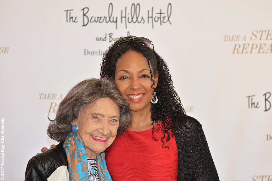 98-year-old yoga master Tao Porchon-Lynch and Teresa Kay-Aba Kennedy at The Beverly Hills Hotel in Beverly Hills, CA - May 18, 2017