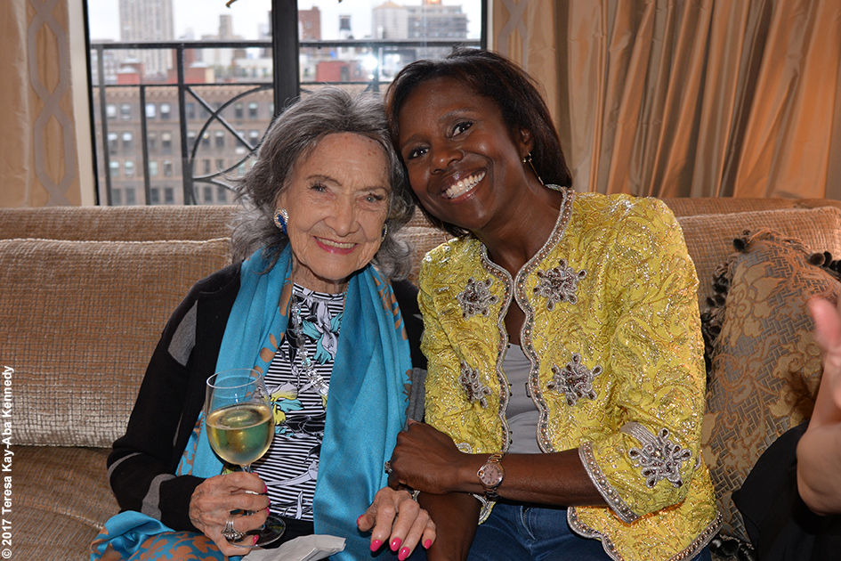 98-year-old yoga master Tao Porchon-Lynch and Deborah Roberts at book party hosted by Joan and George Hornig in New York - April 27, 2017