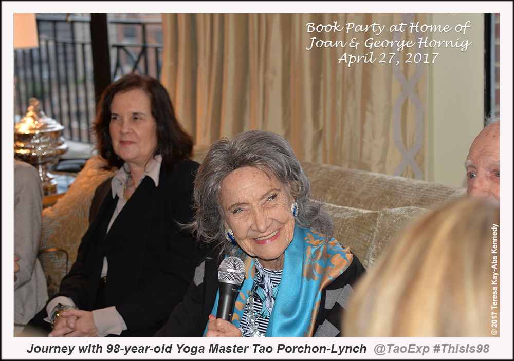 98-year-old yoga master Tao Porchon-Lynch at book party hosted by Joan and George Hornig in New York - April 27, 2017