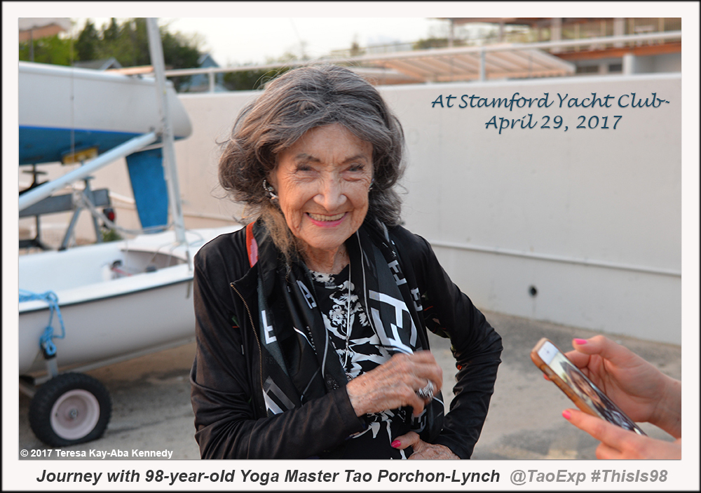 98-year-old yoga master Tao Porchon-Lynch at Stamford Yacht Club - April 29. 2017