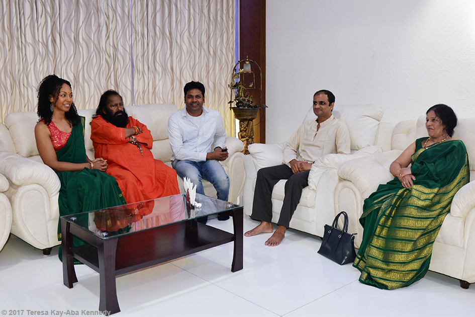 Teresa Kay-Aba Kennedy, Pilot Baba, Sri K. Pattabhi Jois' daughter Saraswathi Rangaswamy and her son, R. Sharath Jois in Bangalore, India - June 20, 2017